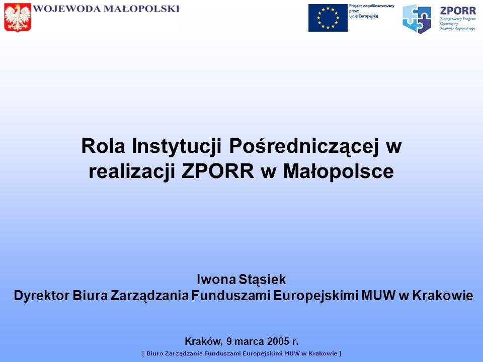 [ Biuro Zarządzania Funduszami Europejskimi MUW w Krakowie ] W zakresie przepływów finansowych Obsługuje konta ZPORR na poziomie wojewódzkim, na których gromadzone są środki EFRR i EFS, w tym obsługa płatności z funduszy strukturalnych na rzecz Beneficjentów i Instytucji Wdrażających W zakresie informacji i promocji Upowszechnia informacje o procedurach finansowych, monitoringu i raportowaniu związane z wdrażaniem ZPORR.