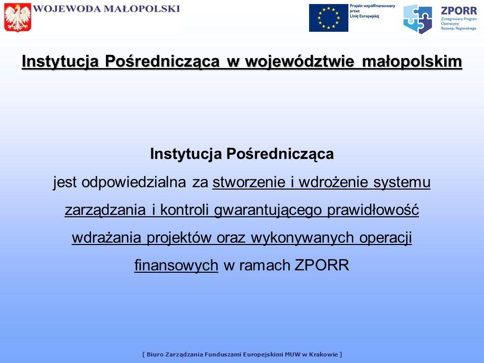 [ Biuro Zarządzania Funduszami Europejskimi MUW w Krakowie ] Instytucja Pośrednicząca działa na podstawie następujących aktów prawnych i dokumentów: Instytucja Pośrednicząca w województwie małopolskim Rozporządzenie Rady Nr 1260/1999 wprowadzające ogólne przepisy dotyczące funduszy strukturalnych Rozporządzenie Komisji Nr 438/2001 ustanawiające szczegółowe zasady wykonania Rozporządzenia Rady Nr 1260/1999 dotyczącego systemów zarządzania i kontroli pomocy udzielanej w ramach Funduszy Strukturalnych Ustawa o Narodowym Planie Rozwoju z dnia 20 kwietnia 2004r.