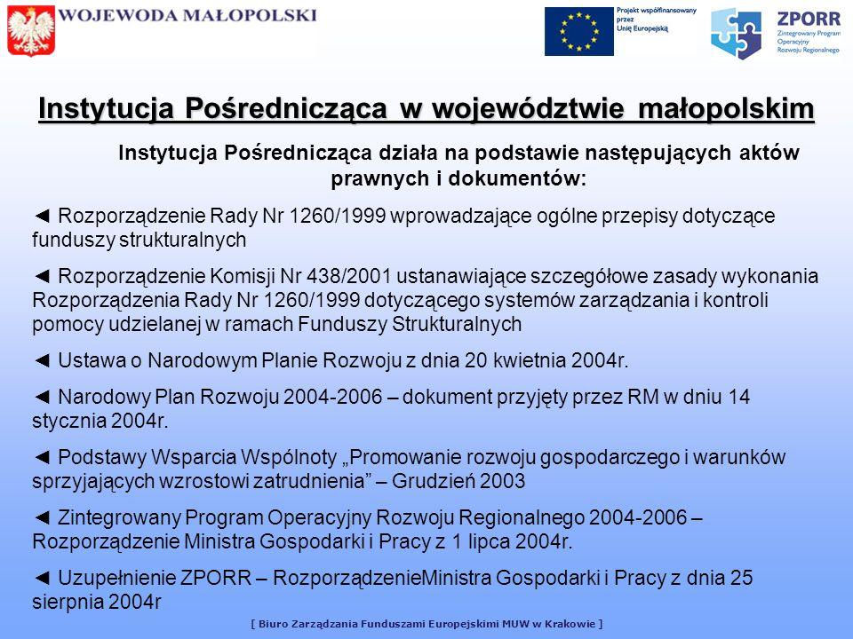 [ Biuro Zarządzania Funduszami Europejskimi MUW w Krakowie ] Biuro Zarządzania Funduszami Europejskimi Jednostka odpowiedzialna za prowadzenie spraw związanych z wdrażaniem ZPORR w Małopolskim Urzędzie Wojewódzkim Za wdrażanie ZPORR są odpowiedzialne: - Oddział Kontroli i Realizacji Projektów - Oddział Weryfikacji i Potwierdzania Płatności - Oddział Monitoringu i Raportowania Za prowadzenie spraw związanych z realizacją Planu Działań Komunikacyjnych ZPORR odpowiedzialny jest Referat Promocji i Szkolenia