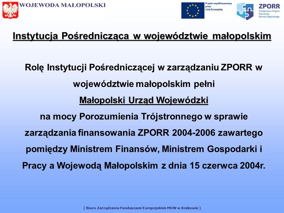 [ Biuro Zarządzania Funduszami Europejskimi MUW w Krakowie ] Porozumienie w sprawie podziału kompetencji w procesie wdrażania ZPORR 2004-2006 w województwie małopolskim zawarte pomiędzy Ministrem Gospodarki i Pracy Samorządem Województwa a Wojewodą Małopolskim podpisane w dniu 17 maja 2004r.