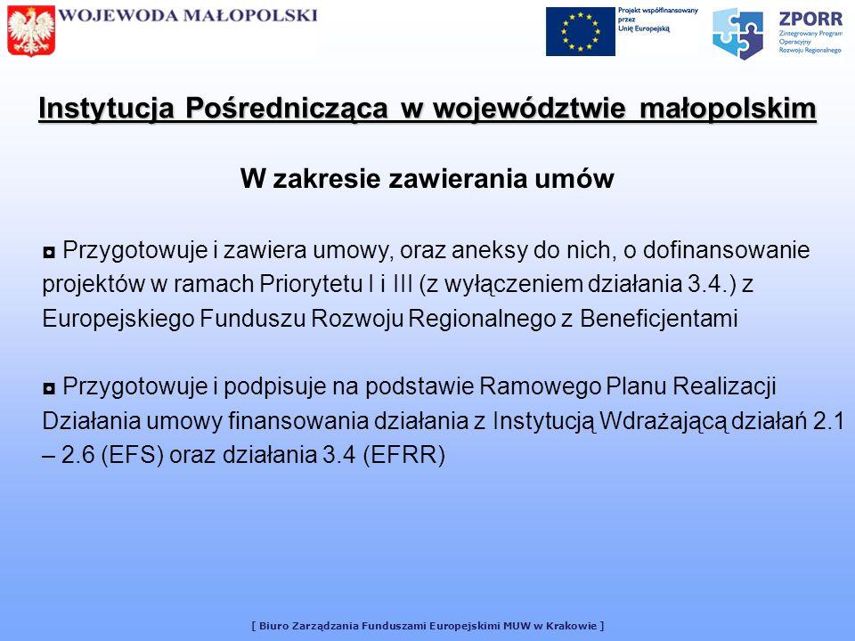 [ Biuro Zarządzania Funduszami Europejskimi MUW w Krakowie ] Instytucja Pośrednicząca przyznaje Beneficjentowi dofinansowanie, stanowiące określony % wydatków kwalifikowalnych na realizację Projektu ze środków EFRR Każda umowa zawiera określone indywidualnie elementy: całkowitą wartość Projektu całkowite wydatki kwalifikowalne w ramach Projektu zobowiązanie Beneficjenta do wydatkowania na realizację Projektu wkładu własnego w określonej wysokości okres realizacji Projektu Umowa w ramach Priorytetu 1 – Rozbudowa i modernizacja infrastruktury służącej wzmacnianiu konkurencyjności regionów Projekt będzie realizowany zgodnie z harmonogramem rzeczowym realizacji Projektu oraz z zestawieniem planowanych wydatków w ramach Projektu, określonymi we wniosku