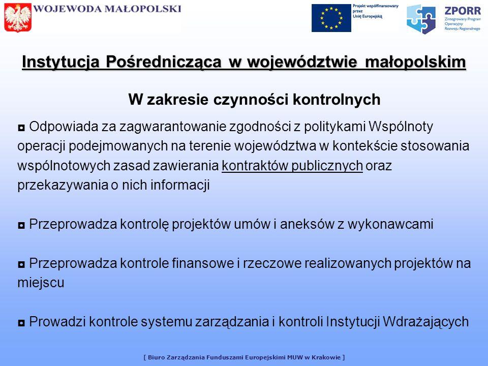 [ Biuro Zarządzania Funduszami Europejskimi MUW w Krakowie ] Prowadzi bieżący monitoring realizacji komponentu wojewódzkiego ZPORR w Województwie Małopolskim Zbiera i weryfikuje sprawozdania monitoringowe od Beneficjentów końcowych, w tym Instytucji Wdrażających poszczególne działania w ramach ZPORR Sporządza na podstawie otrzymanych sprawozdań od Beneficjentów Końcowych: - kwartalne sprawozdania z wdrażania komponentu wojewódzkiego ZPORR, - roczne sprawozdania z realizacji komponentu wojewódzkiego ZPORR, - sprawozdania na zakończenie realizacji komponentu wojewódzkiego ZPORR Instytucja Pośrednicząca w województwie małopolskim W zakresie monitoringu