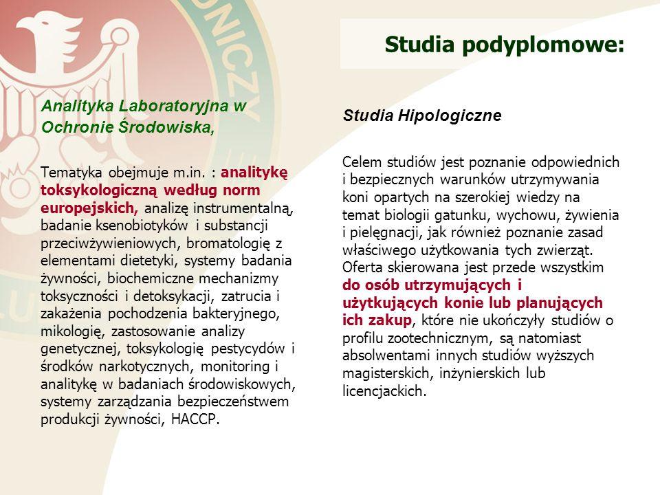 Studia podyplomowe: Analityka Laboratoryjna w Ochronie Środowiska, Tematyka obejmuje m.in.