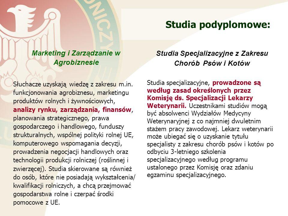 Studia podyplomowe: Marketing i Zarządzanie w Agrobiznesie Słuchacze uzyskają wiedzę z zakresu m.in.