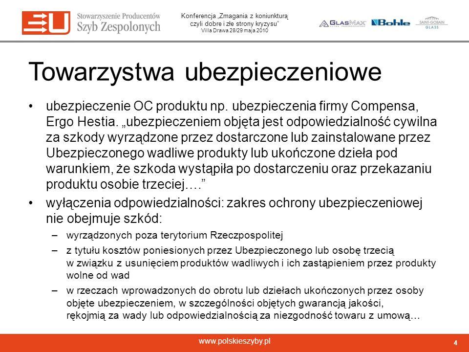 Konferencja Zmagania z koniunkturą czyli dobre i złe strony kryzysu Villa Drawa 28/29 maja 2010 www.polskieszyby.pl Towarzystwa ubezpieczeniowe ubezpieczenie OC produktu np.