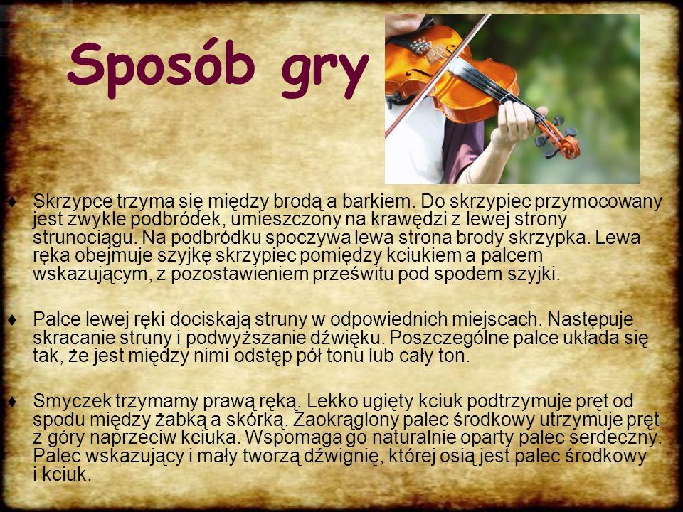 Historia Współczesne skrzypce wywodzą się ze skrzypiec barokowych, które wyewoluowały z kilku instrumentów używanych wcześniej, takich jak np. łuk, fi