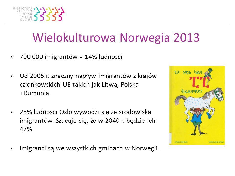 Wielokulturowa Norwegia 2013 700 000 imigrantów = 14% ludności Od 2005 r.