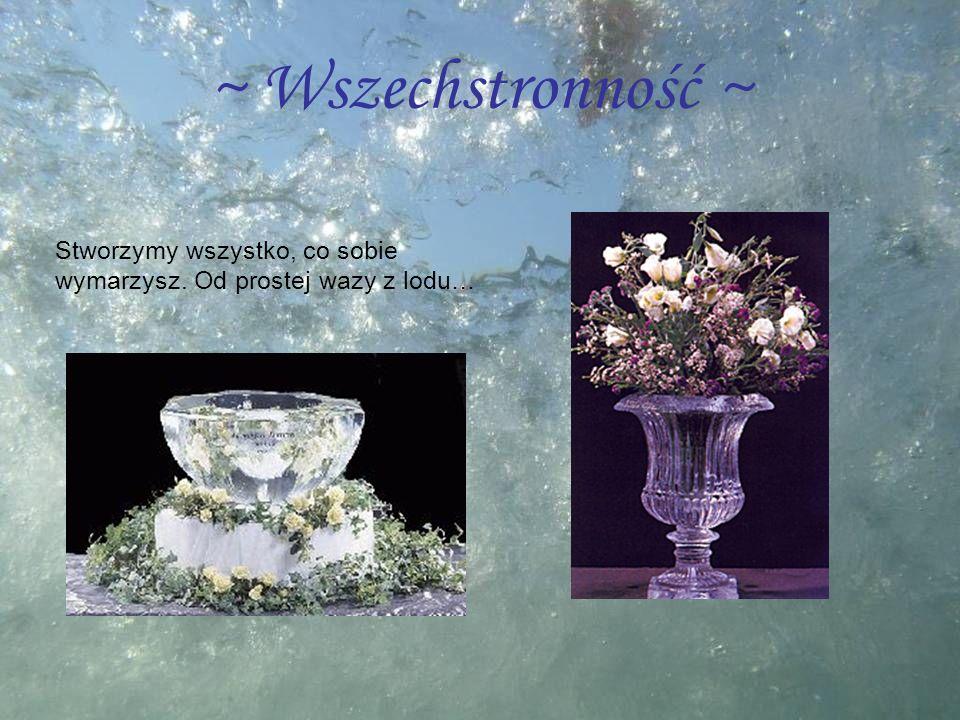 ~ Wszechstronność ~ Stworzymy wszystko, co sobie wymarzysz. Od prostej wazy z lodu…
