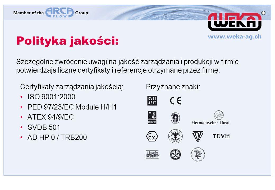 Polityka jakości: Certyfikaty zarządzania jakością: ISO 9001:2000 PED 97/23/EC Module H/H1 ATEX 94/9/EC SVDB 501 AD HP 0 / TRB200 Przyznane znaki: Szczególne zwrócenie uwagi na jakość zarządzania i produkcji w firmie potwierdzają liczne certyfikaty i referencje otrzymane przez firmę:
