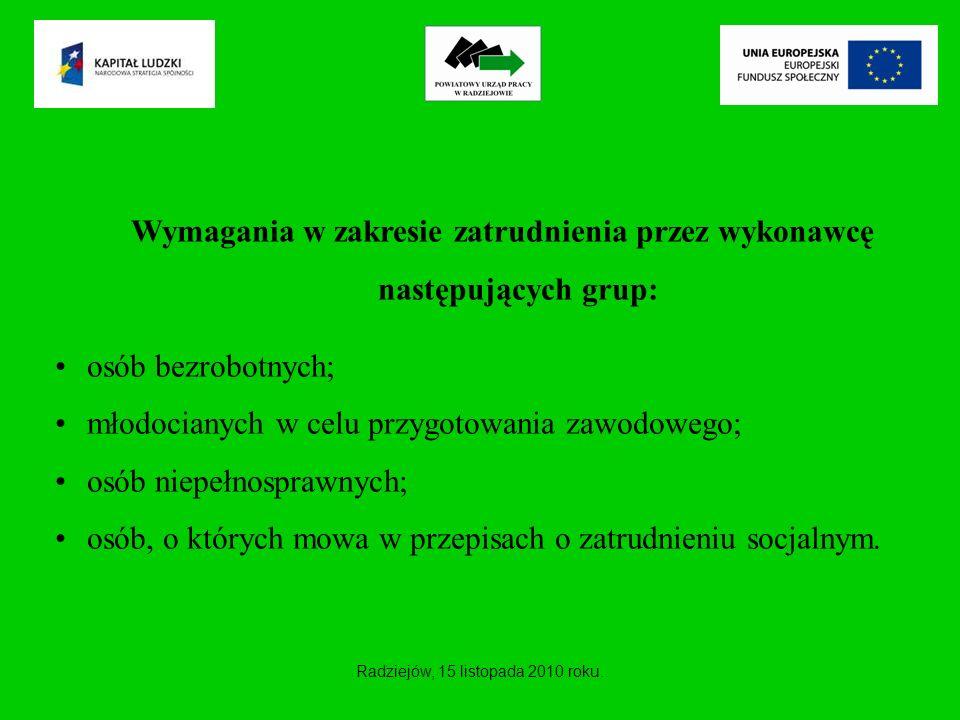Wymagania w zakresie zatrudnienia przez wykonawcę następujących grup: osób bezrobotnych; młodocianych w celu przygotowania zawodowego; osób niepełnosp