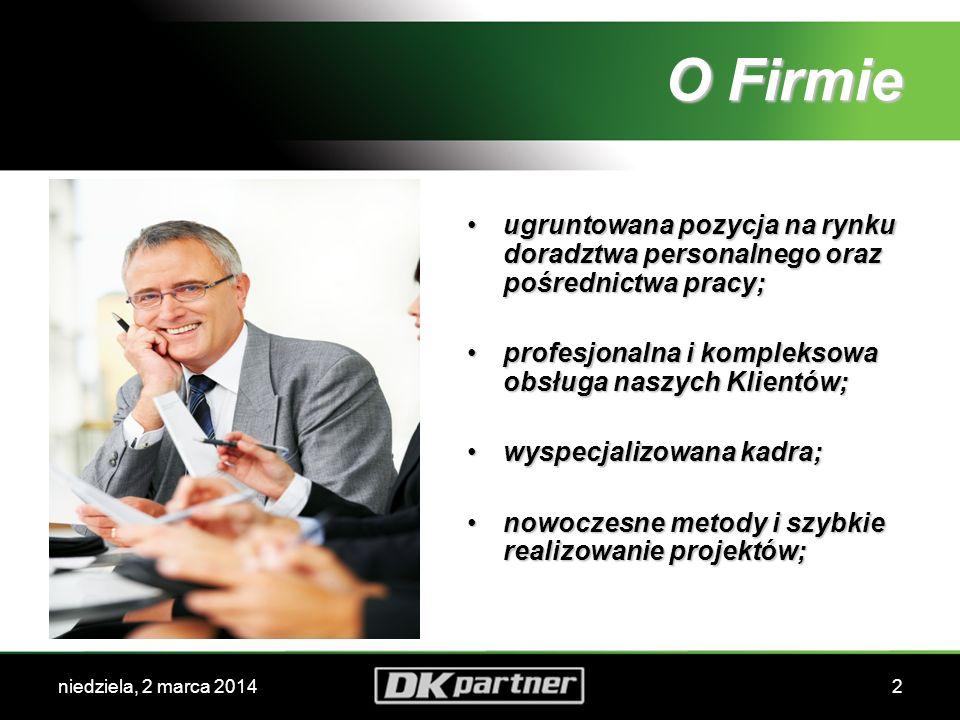 niedziela, 2 marca 20142 O Firmie ugruntowana pozycja na rynku doradztwa personalnego oraz pośrednictwa pracy; profesjonalna i kompleksowa obsługa naszych Klientów; wyspecjalizowana kadra; nowoczesne metody i szybkie realizowanie projektów;