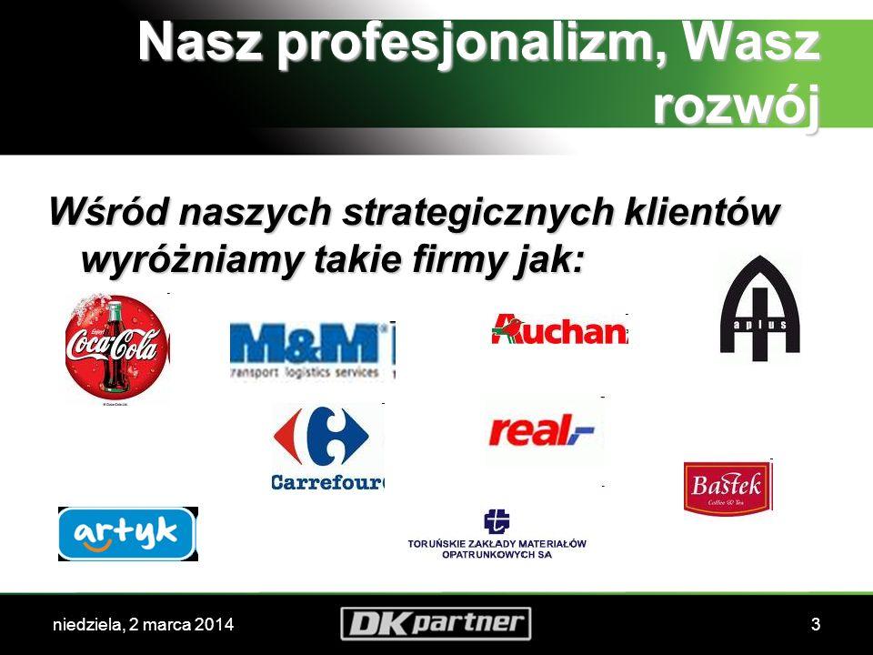 niedziela, 2 marca 20143 Nasz profesjonalizm, Wasz rozwój Wśród naszych strategicznych klientów wyróżniamy takie firmy jak: