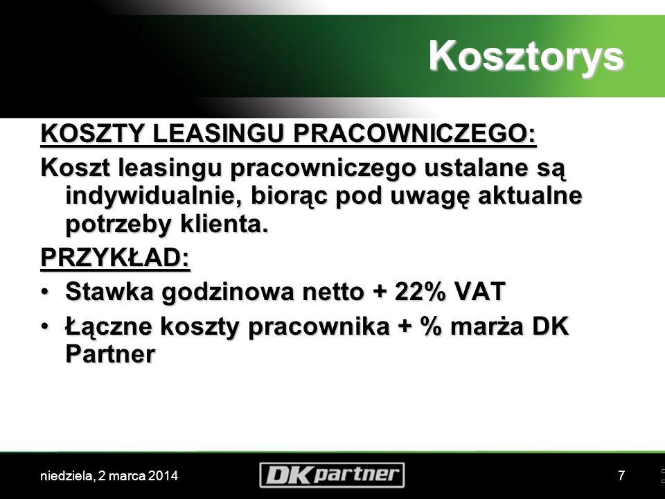 niedziela, 2 marca 20147 Kosztorys KOSZTY LEASINGU PRACOWNICZEGO: Koszt leasingu pracowniczego ustalane są indywidualnie, biorąc pod uwagę aktualne potrzeby klienta.