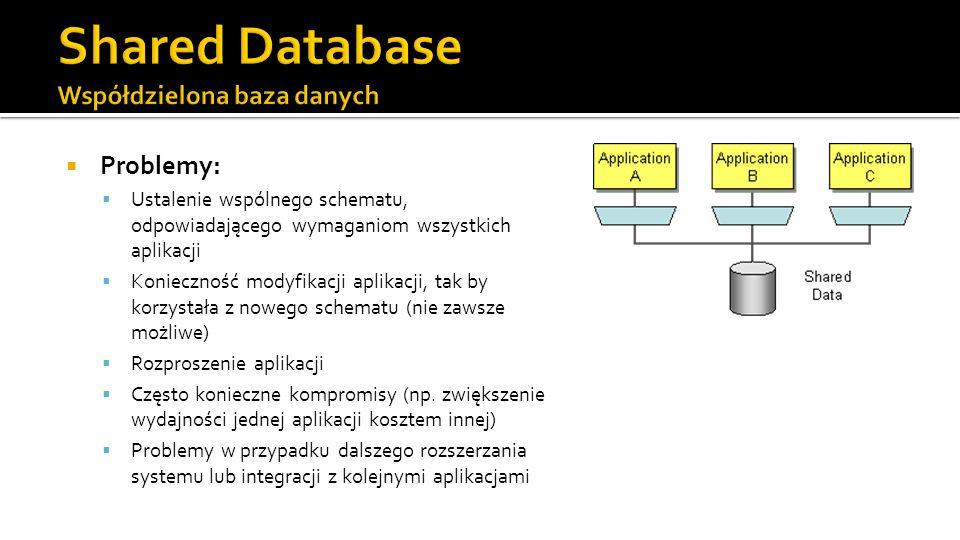 Problemy: Ustalenie wspólnego schematu, odpowiadającego wymaganiom wszystkich aplikacji Konieczność modyfikacji aplikacji, tak by korzystała z nowego