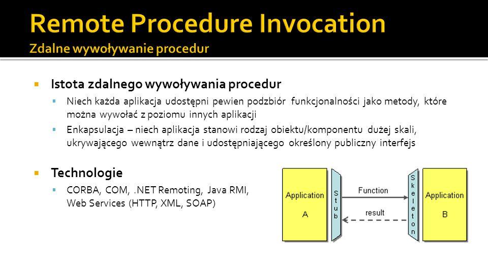 Istota zdalnego wywoływania procedur Niech każda aplikacja udostępni pewien podzbiór funkcjonalności jako metody, które można wywołać z poziomu innych