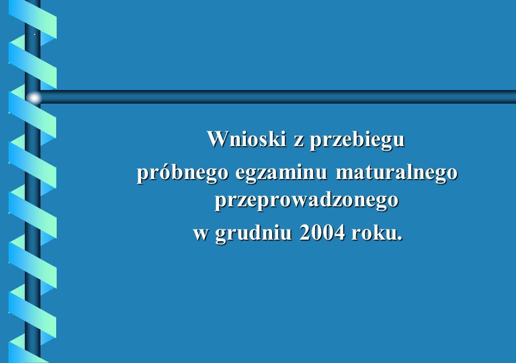 . Wnioski z przebiegu Wnioski z przebiegu próbnego egzaminu maturalnego przeprowadzonego w grudniu 2004 roku.
