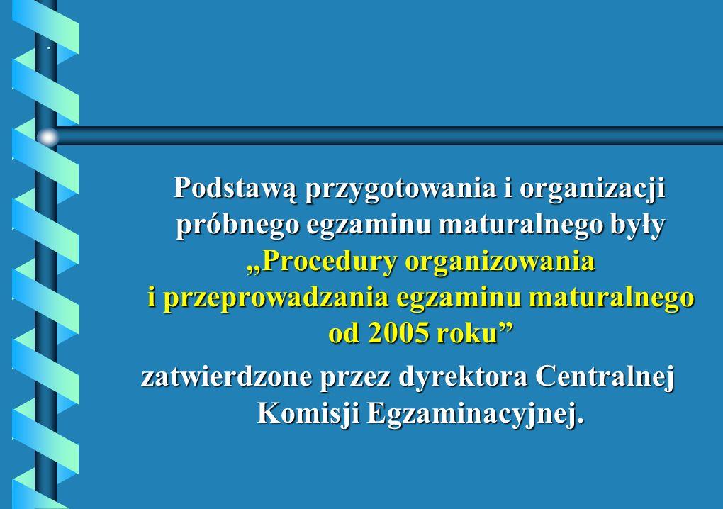 . Podstawą przygotowania i organizacji próbnego egzaminu maturalnego były Procedury organizowania i przeprowadzania egzaminu maturalnego od 2005 roku