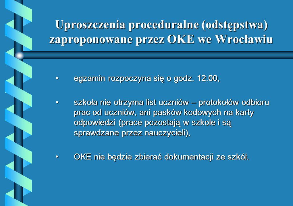 Uproszczenia proceduralne (odstępstwa) zaproponowane przez OKE we Wrocławiu egzamin rozpoczyna się o godz. 12.00,egzamin rozpoczyna się o godz. 12.00,