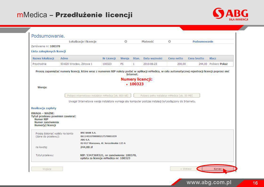 www.abg.com.pl 16 mMedica – Przedłużenie licencji