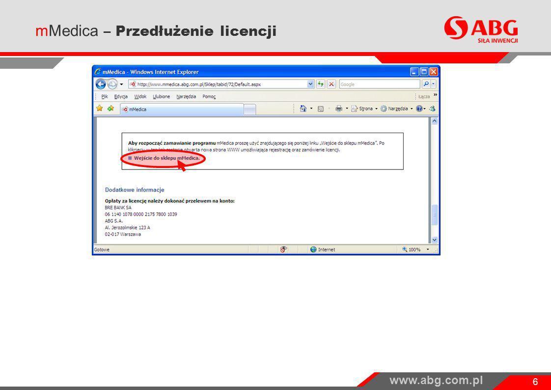 www.abg.com.pl 17 Zakończenie procesu przedłużenia licencji: Kolejne kroki: Opłata – wykonanie przelewu na konto wskazane w zamówieniu.
