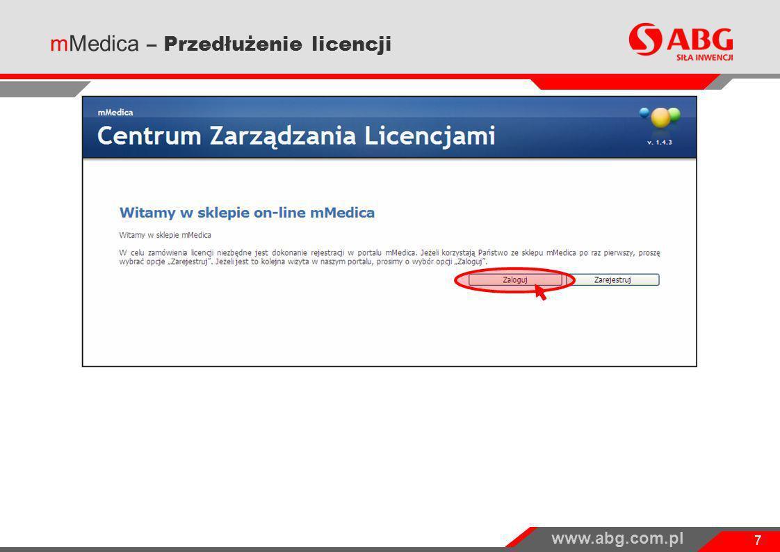 www.abg.com.pl 8 mMedica – Przedłużenie licencji