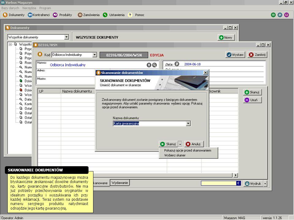 Do każdego dokumentu magazynowego można błyskawicznie zeskanować dowolne dokumenty np. karty gwarancyjne dystrybutorów. Nie ma już potrzeby przechowyw