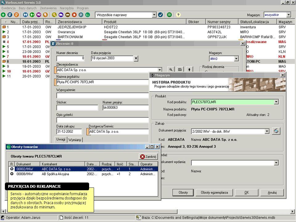 Serwis - automatyczne wypełnianie formularza przyjęcia dzięki bezpośredniemu dostępowi do danych o obrotach. Praca osoby przyjmującej zredukowana do m