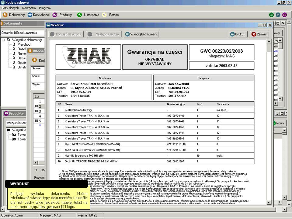 Podgląd wydruku dokumentu. Można zdefiniować własne typy dokumentów i określić dla nich cechy takie jak skrót, nazwę, tekst na dokumencie (np.tekst gw