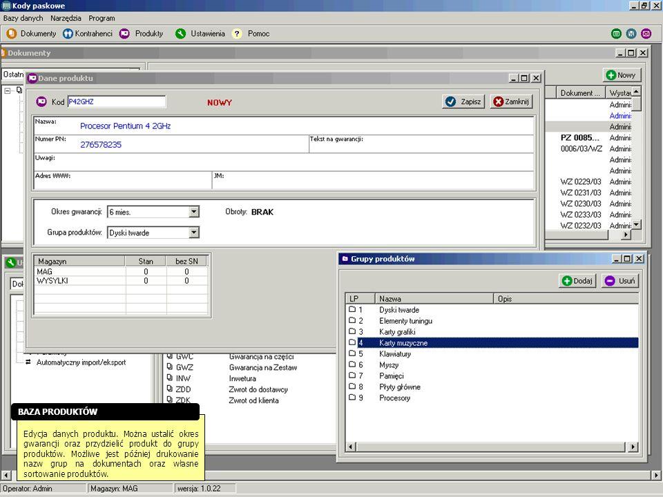 Edycja danych produktu. Można ustalić okres gwarancji oraz przydzielić produkt do grupy produktów. Możliwe jest później drukowanie nazw grup na dokume