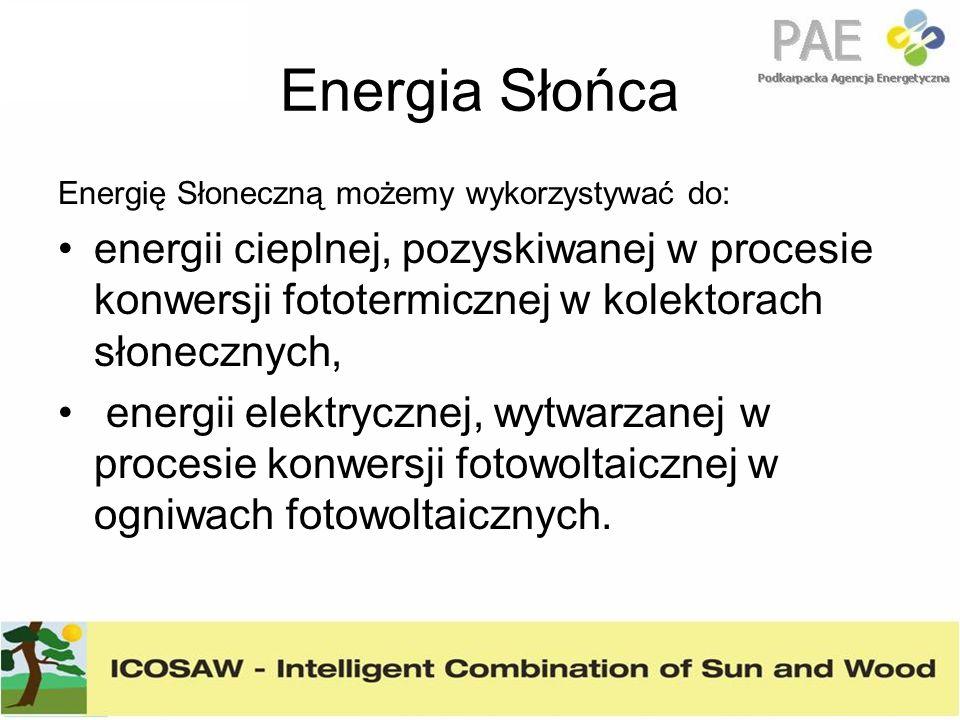 Energia Słońca Energię Słoneczną możemy wykorzystywać do: energii cieplnej, pozyskiwanej w procesie konwersji fototermicznej w kolektorach słonecznych