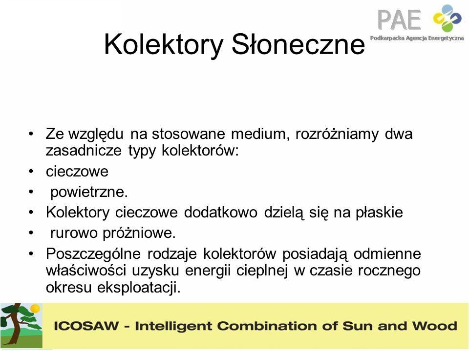 Kolektory Słoneczne Ze względu na stosowane medium, rozróżniamy dwa zasadnicze typy kolektorów: cieczowe powietrzne. Kolektory cieczowe dodatkowo dzie