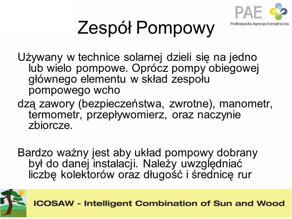 Zespół Pompowy Używany w technice solarnej dzieli się na jedno lub wielo pompowe. Oprócz pompy obiegowej głównego elementu w skład zespołu pompowego w
