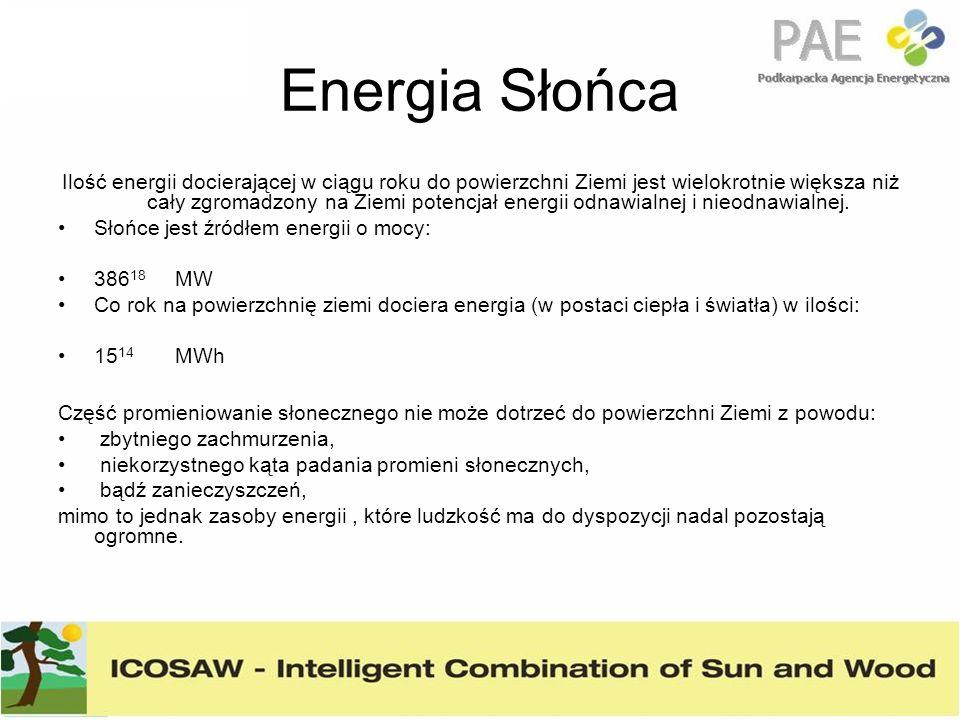 Energia Słońca Ilość energii docierającej w ciągu roku do powierzchni Ziemi jest wielokrotnie większa niż cały zgromadzony na Ziemi potencjał energii