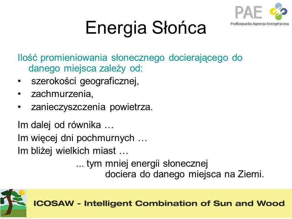 Energia Słońca Ilość promieniowania słonecznego docierającego do danego miejsca zależy od: szerokości geograficznej, zachmurzenia, zanieczyszczenia po