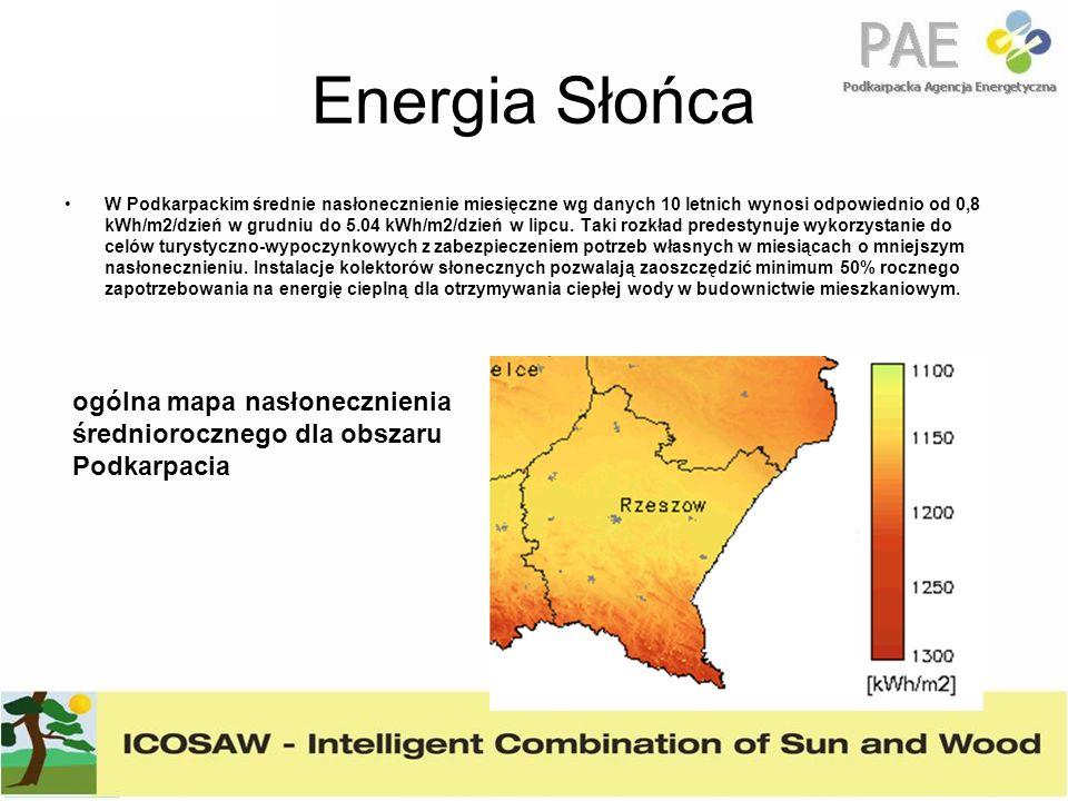Energia Słońca W Podkarpackim średnie nasłonecznienie miesięczne wg danych 10 letnich wynosi odpowiednio od 0,8 kWh/m2/dzień w grudniu do 5.04 kWh/m2/