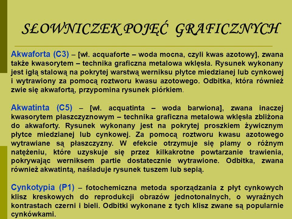 SŁOWNICZEK POJĘĆ GRAFICZNYCH Akwaforta (C3) – [wł. acquaforte – woda mocna, czyli kwas azotowy], zwana także kwasorytem – technika graficzna metalowa