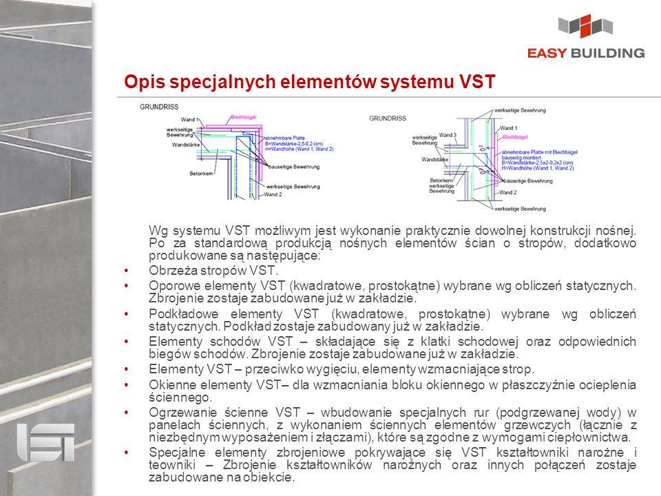 Opis specjalnych elementów systemu VST Wg systemu VST możliwym jest wykonanie praktycznie dowolnej konstrukcji nośnej. Po za standardową produkcją noś