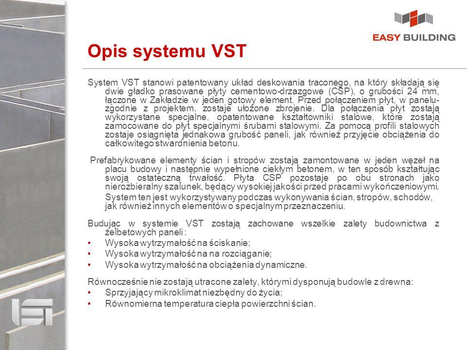 Opis systemu VST System VST stanowi patentowany układ deskowania traconego, na który składają się dwie gładko prasowane płyty cementowo-drzazgowe (CSP