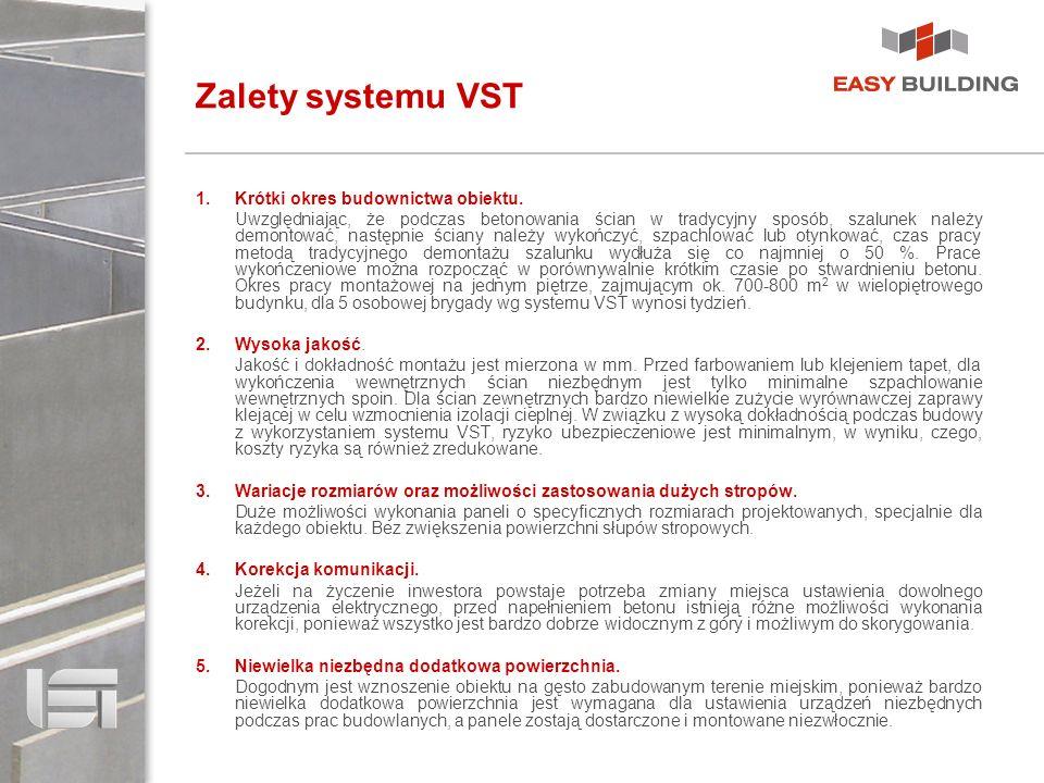 Zalety systemu VST 1.Krótki okres budownictwa obiektu. Uwzględniając, że podczas betonowania ścian w tradycyjny sposób, szalunek należy demontować, na