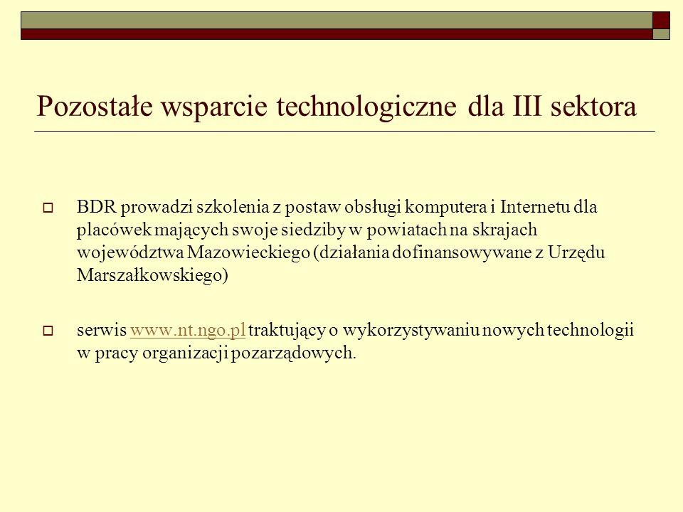 Pozostałe wsparcie technologiczne dla III sektora BDR prowadzi szkolenia z postaw obsługi komputera i Internetu dla placówek mających swoje siedziby w powiatach na skrajach województwa Mazowieckiego (działania dofinansowywane z Urzędu Marszałkowskiego) serwis www.nt.ngo.pl traktujący o wykorzystywaniu nowych technologii w pracy organizacji pozarządowych.www.nt.ngo.pl