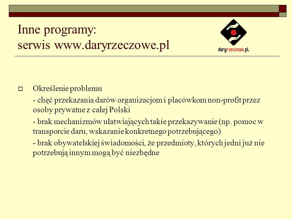 Inne programy: serwis www.daryrzeczowe.pl Określenie problemu - chęć przekazania darów organizacjom i placówkom non-profit przez osoby prywatne z całej Polski - brak mechanizmów ułatwiających takie przekazywanie (np.