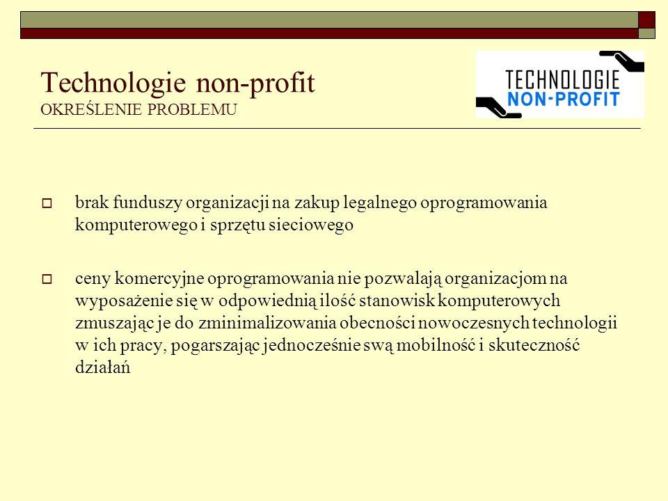 Technologie non-profit OKREŚLENIE PROBLEMU brak funduszy organizacji na zakup legalnego oprogramowania komputerowego i sprzętu sieciowego ceny komercyjne oprogramowania nie pozwalają organizacjom na wyposażenie się w odpowiednią ilość stanowisk komputerowych zmuszając je do zminimalizowania obecności nowoczesnych technologii w ich pracy, pogarszając jednocześnie swą mobilność i skuteczność działań