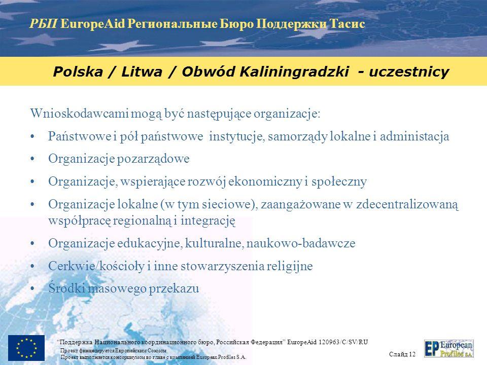 РБП EuropeAid Региональные Бюро Поддержки Тасис Слайд 11 Поддержка Национального координационного бюро, Российская Федерация EuropeAid 120963/C/SV/RU Проект финансируется Европейским Союзом Проект выполняется консорциумом во главе с компанией European Profiles S.A.