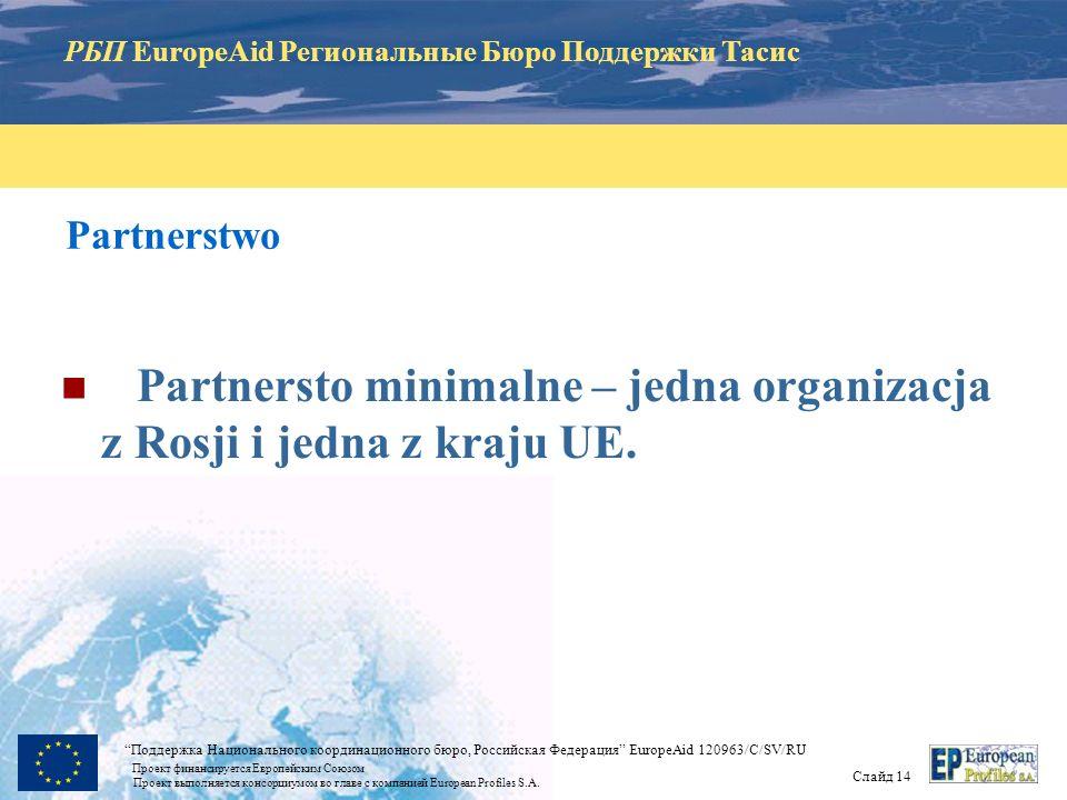 РБП EuropeAid Региональные Бюро Поддержки Тасис Слайд 13 Поддержка Национального координационного бюро, Российская Федерация EuropeAid 120963/C/SV/RU Проект финансируется Европейским Союзом Проект выполняется консорциумом во главе с компанией European Profiles S.A.