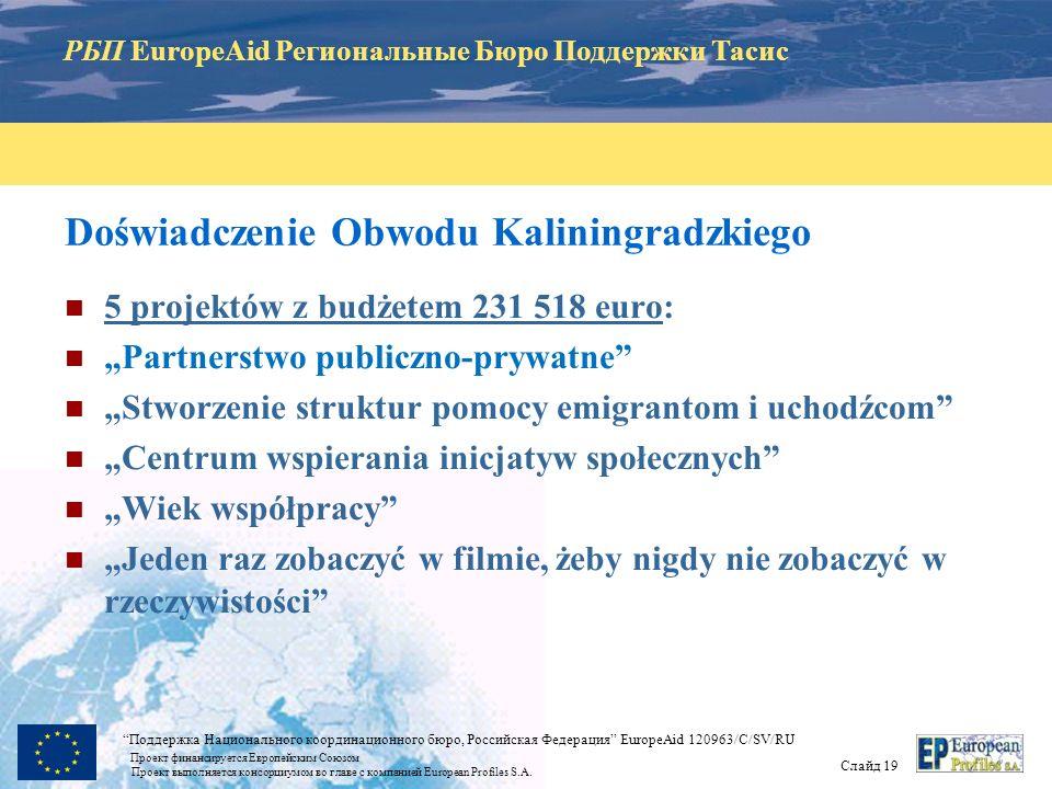 РБП EuropeAid Региональные Бюро Поддержки Тасис Слайд 18 Поддержка Национального координационного бюро, Российская Федерация EuropeAid 120963/C/SV/RU Проект финансируется Европейским Союзом Проект выполняется консорциумом во главе с компанией European Profiles S.A.