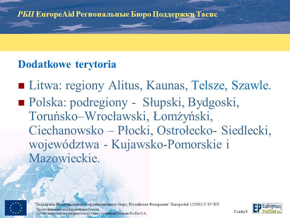 РБП EuropeAid Региональные Бюро Поддержки Тасис Слайд 8 Поддержка Национального координационного бюро, Российская Федерация EuropeAid 120963/C/SV/RU Проект финансируется Европейским Союзом Проект выполняется консорциумом во главе с компанией European Profiles S.A.