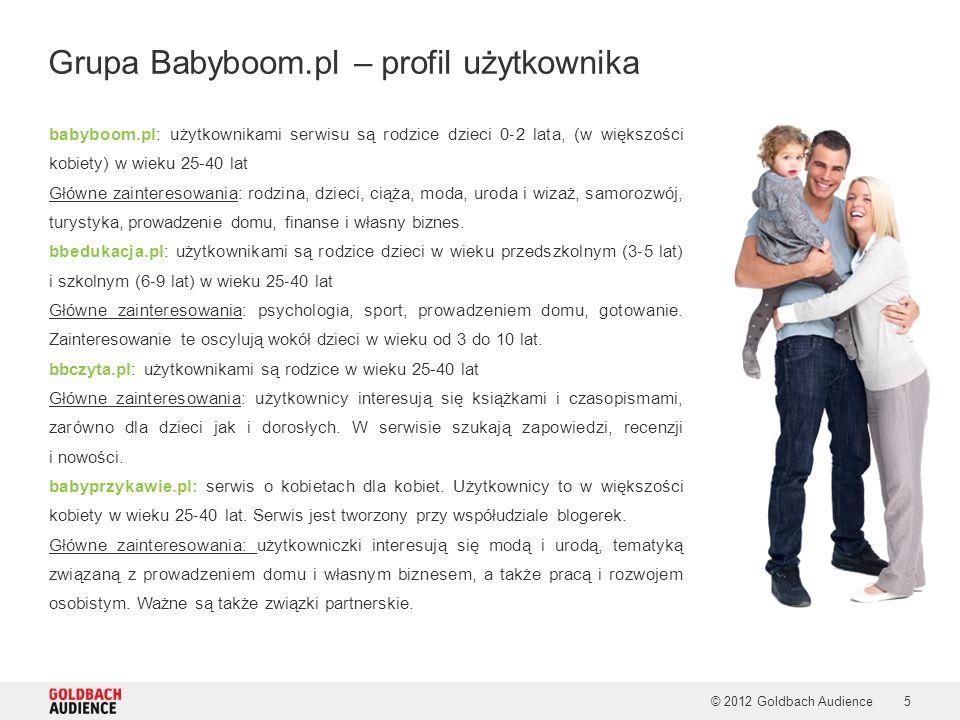 © 2012 Goldbach Audience5 babyboom.pl: użytkownikami serwisu są rodzice dzieci 0 2 lata, (w większości kobiety) w wieku 25-40 lat Główne zainteresowa