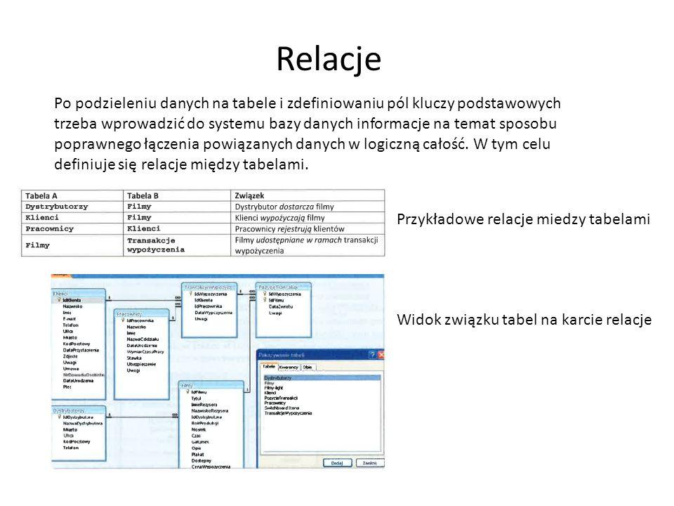 Relacje Po podzieleniu danych na tabele i zdefiniowaniu pól kluczy podstawowych trzeba wprowadzić do systemu bazy danych informacje na temat sposobu p