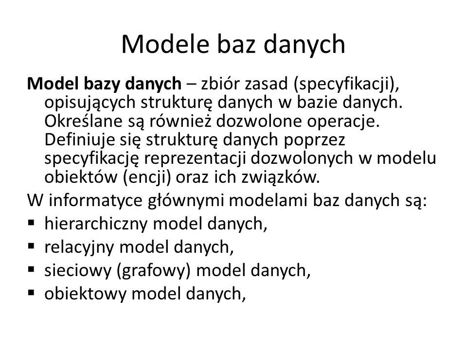 Modele baz danych Model bazy danych – zbiór zasad (specyfikacji), opisujących strukturę danych w bazie danych. Określane są również dozwolone operacje