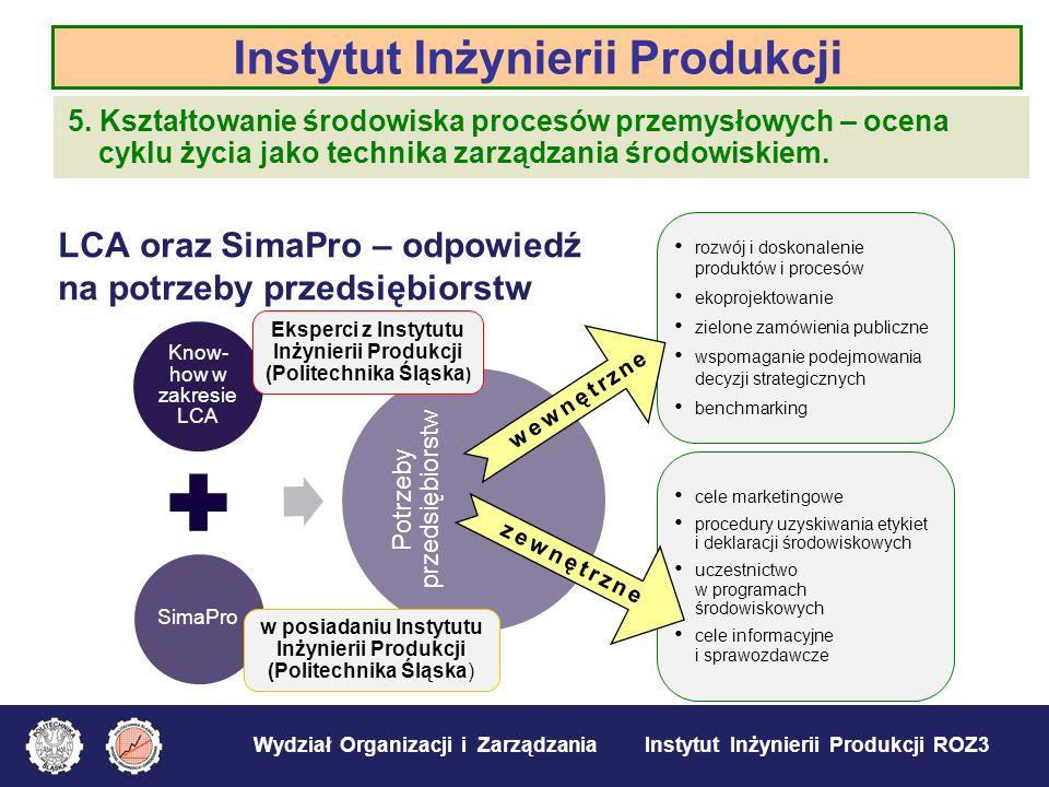 Wydział Organizacji i Zarządzania Instytut Inżynierii Produkcji ROZ3 Instytut Inżynierii Produkcji 5. Kształtowanie środowiska procesów przemysłowych